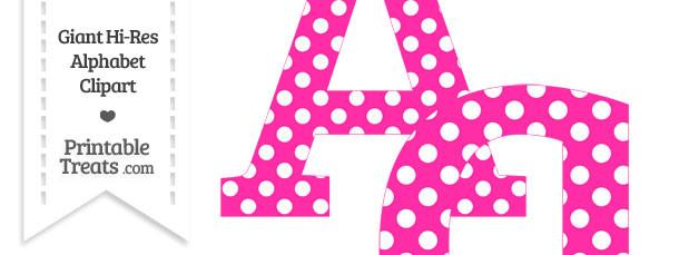 Hot Pink Polka Dot Letter A Clipart