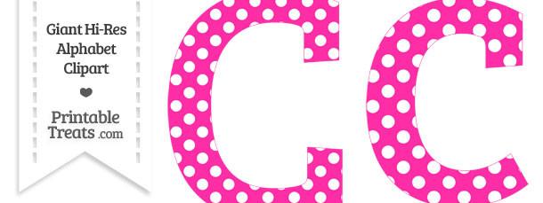 Hot Pink Polka Dot Letter C Clipart