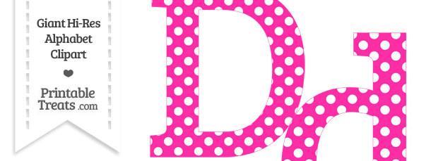 Hot Pink Polka Dot Letter D Clipart