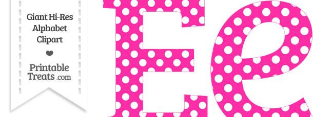 Hot Pink Polka Dot Letter E Clipart