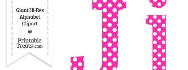 Hot Pink Polka Dot Letter J Clipart