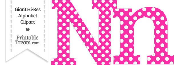 Hot Pink Polka Dot Letter N Clipart