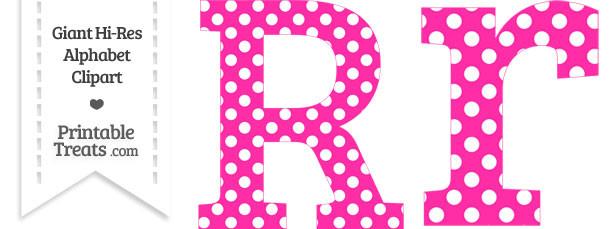 Hot Pink Polka Dot Letter R Clipart