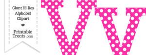 Hot Pink Polka Dot Letter V Clipart