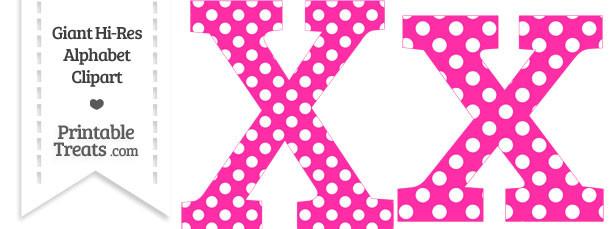 Hot Pink Polka Dot Letter X Clipart