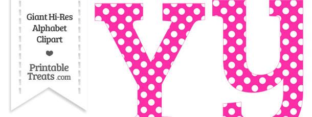 Hot Pink Polka Dot Letter Y Clipart
