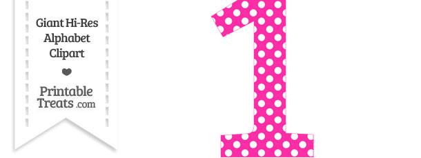 Hot Pink Polka Dot Number 1 Clipart