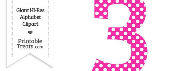 Hot Pink Polka Dot Number 3 Clipart