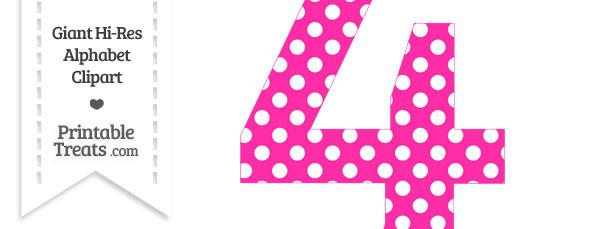 Hot Pink Polka Dot Number 4 Clipart