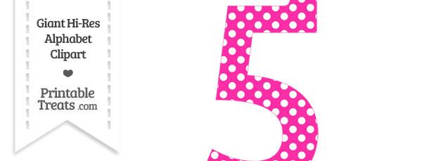 Hot Pink Polka Dot Number 5 Clipart