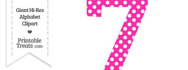 Hot Pink Polka Dot Number 7 Clipart