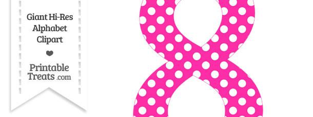 Hot Pink Polka Dot Number 8 Clipart