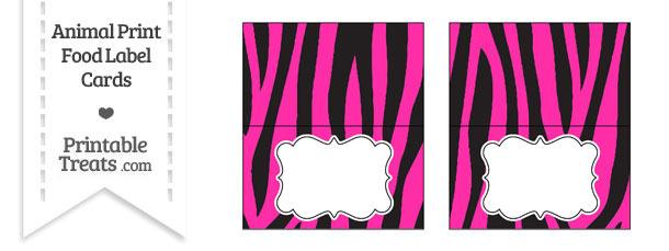 Hot Pink Zebra Print Food Labels