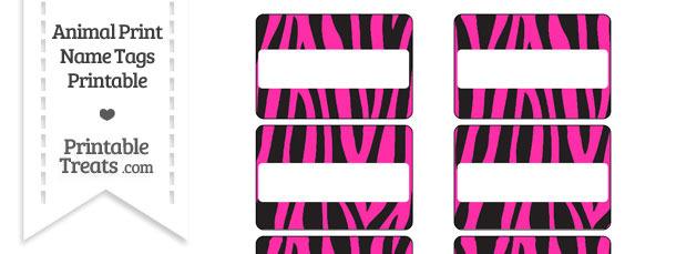 Hot Pink Zebra Print Name Tags