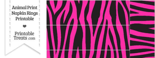 Hot Pink Zebra Print Napkin Rings