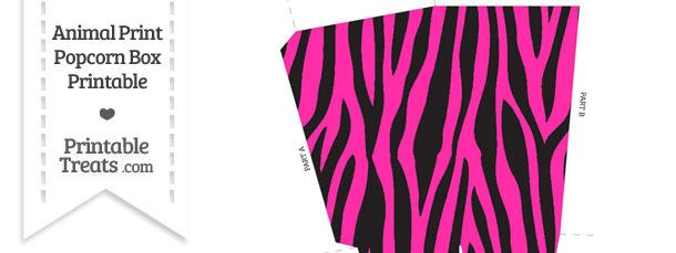 Hot Pink Zebra Print Popcorn Box