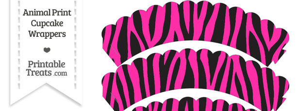 Hot Pink Zebra Print Scalloped Cupcake Wrappers