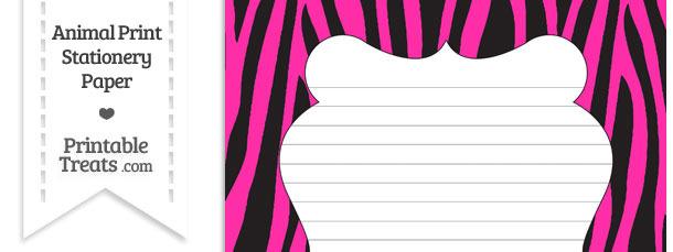 Hot Pink Zebra Print Stationery Paper