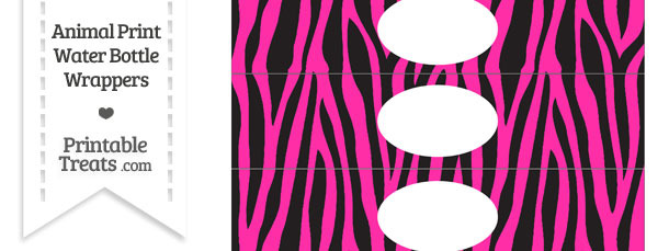 Hot Pink Zebra Print Water Bottle Wrappers