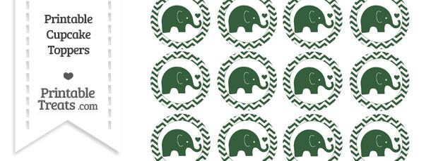 Hunter Green Baby Elephant Chevron Cupcake Toppers