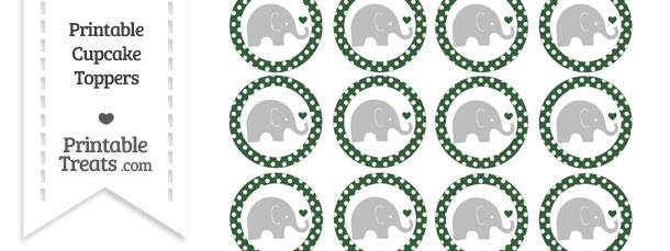 Hunter Green Polka Dot Baby Elephant Cupcake Toppers