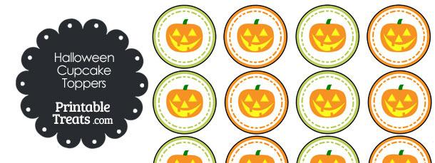 Jack o Lantern Halloween Cupcake Toppers
