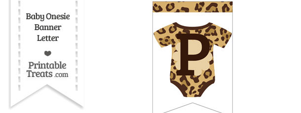 Jaguar Print Baby Onesie Bunting Banner Letter P