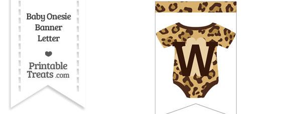 Jaguar Print Baby Onesie Bunting Banner Letter W
