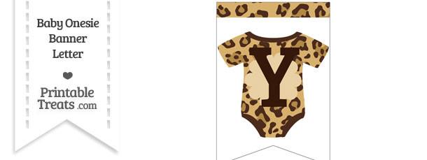 Jaguar Print Baby Onesie Bunting Banner Letter Y