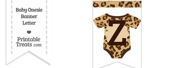 Jaguar Print Baby Onesie Bunting Banner Letter Z