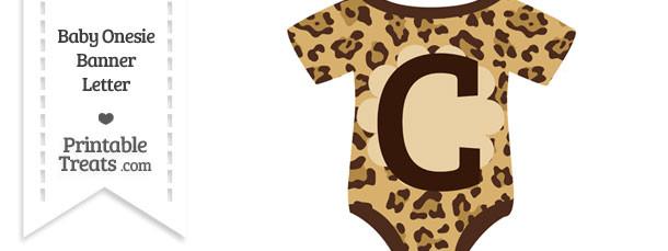 Jaguar Print Baby Onesie Shaped Banner Letter C