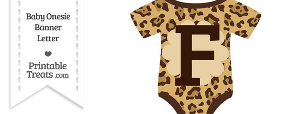 Jaguar Print Baby Onesie Shaped Banner Letter F