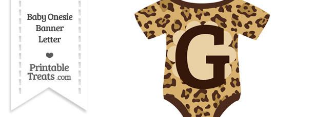 Jaguar Print Baby Onesie Shaped Banner Letter G