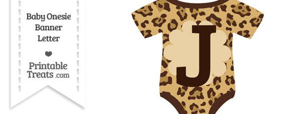 Jaguar Print Baby Onesie Shaped Banner Letter J