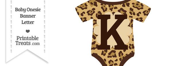 Jaguar Print Baby Onesie Shaped Banner Letter K