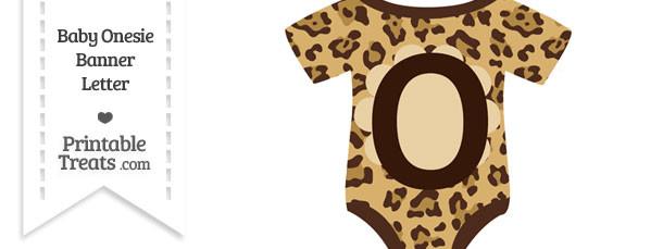 Jaguar Print Baby Onesie Shaped Banner Letter O