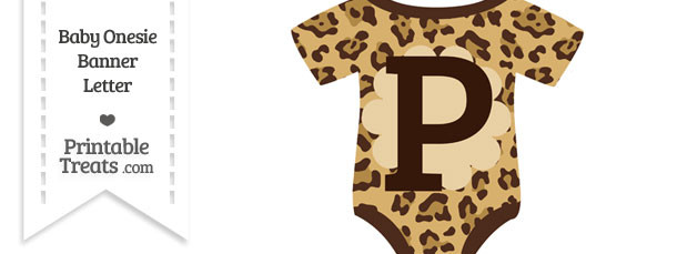 Jaguar Print Baby Onesie Shaped Banner Letter P