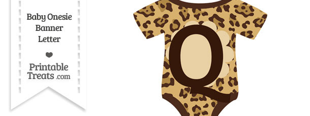 Jaguar Print Baby Onesie Shaped Banner Letter Q