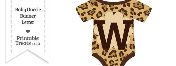 Jaguar Print Baby Onesie Shaped Banner Letter W