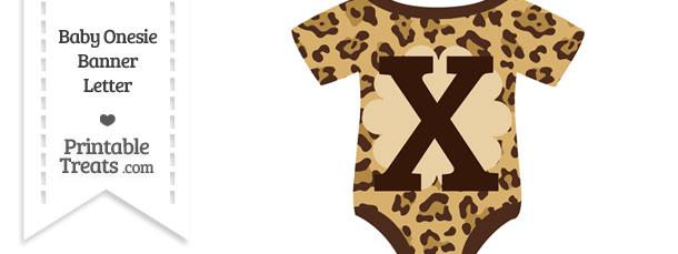 Jaguar Print Baby Onesie Shaped Banner Letter X