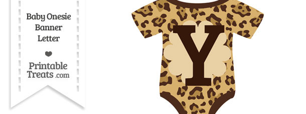 Jaguar Print Baby Onesie Shaped Banner Letter Y