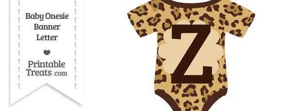 Jaguar Print Baby Onesie Shaped Banner Letter Z