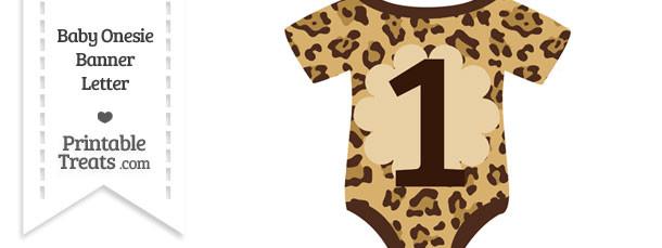 Jaguar Print Baby Onesie Shaped Banner Number 1