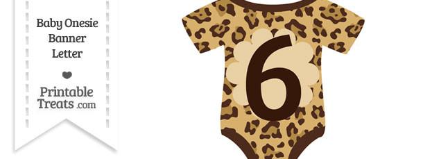 Jaguar Print Baby Onesie Shaped Banner Number 6