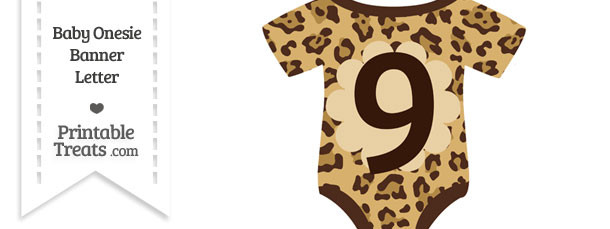 Jaguar Print Baby Onesie Shaped Banner Number 9