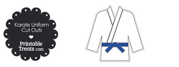 Printable Karate Uniform with Blue Belt Cut Outs