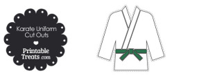 Karate Uniform with Green Belt Cut Outs