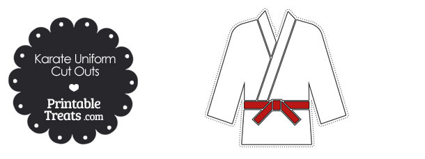 Karate Uniform with Red Belt Cut Outs