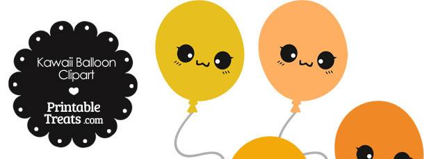 Kawaii Balloon Clipart in Shades of Orange