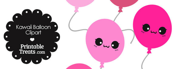 Kawaii Balloon Clipart in Shades of Pink